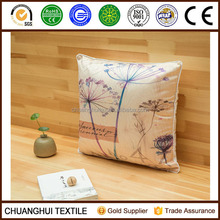 2015 new arrival 100% polyester faux silk cushion printed with flower