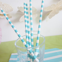 New Pattern baby blue and white sailor paper drinking straws fancy paper straws