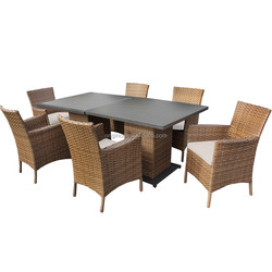New style rattan hotel furniture with aluminium top table and armchair 4 seater rattan dining table set