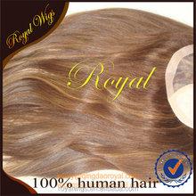 Wholesale High Quality Natural Straight Highlight 8/14 100% Virgin European Hair 16inch Hair Piece With Silk Top
