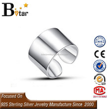 online wholesale wide open adjustable size 925 plain silver ring