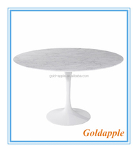 Modern Dining Table Tulip Fiberglass Base MDF Marble Round Top Table GA6003T