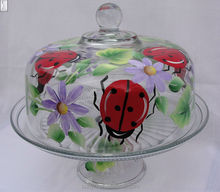 Handblown flower decal Round Clear Glass Cake Cover and stand