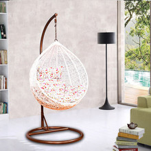 Sex wooden rattan egg hanging chair with stand