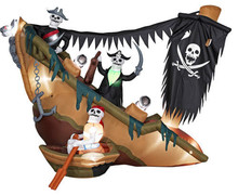 8.2ft inflatable skeleton Halloween kids outdoor pirate ship for sale