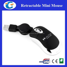 Pocket optical mini oem mouse with retracted cable