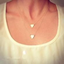 European and American 18K palted gold colort two layers simple triangle pendant short necklace