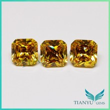 10*10mm fake diamond square cut golden synthetic gem stone cut corner