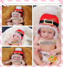 hand knitted Red crochet baby hat winter earflap christmas hat