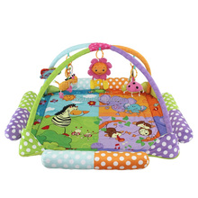New Arrival Multifunctional Indoor Gym Foldable Plush Baby Play Mat with Rattles On Promotion