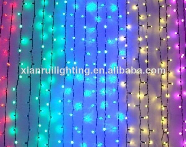 Decoraci n de navidad led cortina de luz de energ a solar for Cortina de luces led