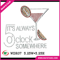 Always Clock Somewhere Drink Rhinestone Iron On Transfers For Women T shirt