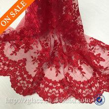 Rojo bordado tela de encaje de tul de novia para