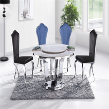 2014 Fashion natural stone top round rotating dining table and chair CT-830# Y-622# green