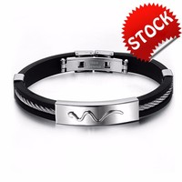 Cool Men Silicone Bangle Fashion New Stainless Steel Hip Hop Personality Jewelry Bracelet Gift For Man