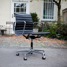 Fixed Arm Leather Executive/Conference Chair, Genuine Leather Chairs, Meeting Chairs with Rotation