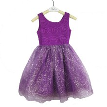 US Freeshipping 2015 knit purple foil printing kids summer free prom dress with lace