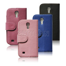Black Leather wallet cover case for samsung galaxy s4 mini i9190