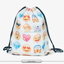 2015 OEM Fashion Durable Polyester 3D Emoji Printing Women Outdoor Sports Drawstring Backpack
