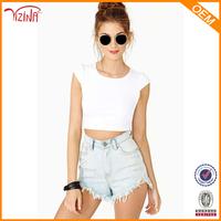 Women Clothes Manufacturer Wholesale 95% Cotton 5% Spandex Tights T Shirts For Mature Women Wear Women Plain Crop Top
