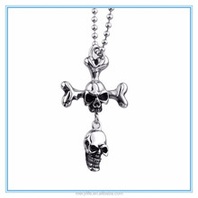 MECY LIFE personalized hip pop stainless steel double skull pendant necklace for halloween day
