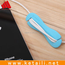 Hot sale retractable silicone earphone winder, earphone cable cord wrap