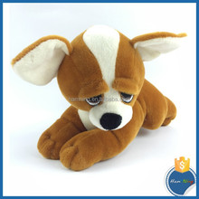 OEM Hot sale lovely international lies prone dog family stuffed toy soft plush toy big eyes brown dog doll for kids