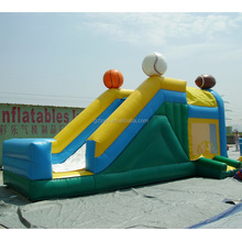 sports type jumping castle with slide, cheap inflatable jumping bouncer soccer basketball ,