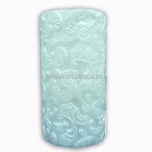 plant embossed double layer green pillar flash candle