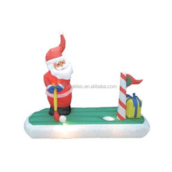 inflatable decoration lighting/5 Foot Long Inflatable Santa Claus Playing Golf