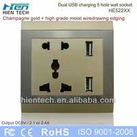 2014 New electrical plugs & sockets USB socket 5V2.1A/2.4A dual USB charging ports for mobile phone and tablets