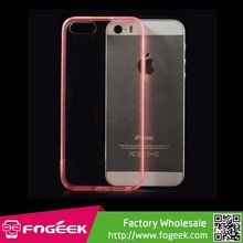 Ultrathin Clear 0.5mm Acrylic Back + TPU Edegs Case for iPhone 5s 5
