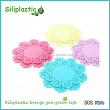 Floral pink blue yellow silicon wedding coaster