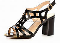 Sexy laser upper high quality leather high heel summer shoe