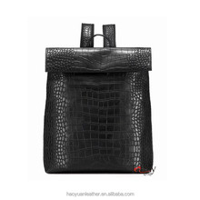 Black pure leather woman satchel wholesale backpack