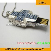 2012 crystal Cross USB/promotional gift USB/Necklace key usb flash drive USB 2.0