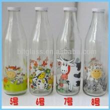 2015 best selling 1000 ml 1 litre 1 L glass milk bottles with tin twist off lid