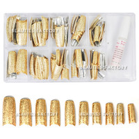 Beauties Factory 100pcs Special Shining 3D Rugged Effect Nail Tips (Gold)