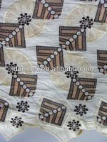 P2398 2013 Cotton 100 african embroidery Lace Fabric with stone