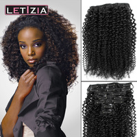 New arrival hot sales 100% kinky curly clip in hair extensions