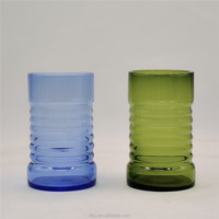 Hand blown solid color highball tumbler glass