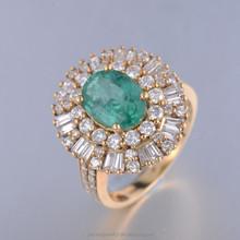2015 Fashion 18K Gold Emerald Diamond Engagement Rings JWRYE15030