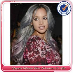 Top Fashion Hot Sale 20 inch Wavy 100% Human Hair Brazilian Human Hair Grey Wig