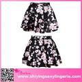 Caliente de la venta al por mayor de flor de durazno negro de impresión de alta- talle baratos acampanada falda de jean