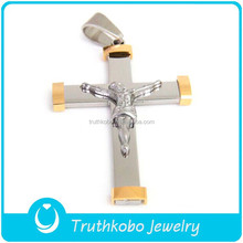 Factory Price Hot Sale Plating Gold Religion Unisex Catholic Crucifix Cross Best Quality Stainless Steel Jesus Cross Pendant