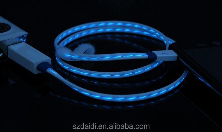 Venda quente made in china usb 2.0 cabo levou fluxo micro cabo usb para Android