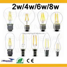 High lumen 360 degree 6w/8w LED failment bulb lighting,E14 E27 led failment light