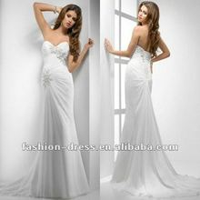 Noble Beach Pleated Sweetheart Ivory Chiffon Lady Bridal Gown