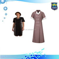 Burgundy Pincord Double-Breasted Housekeeping Dress, workwear uniform
