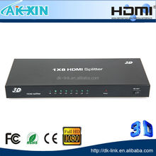 8-Port (1x8) HDMI 1.3 Amplified Powered Splitter/Signal Distributor - Ver 1.3 Full-HD 1080P, HD Audio